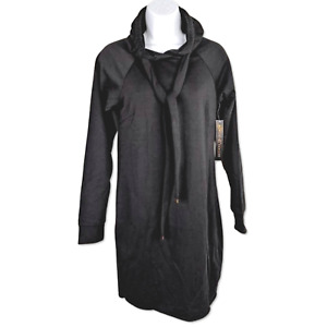 Almost Famous Hooded Tunic Black Drawstring Hoodie Dress Knit Cuffs Size Small