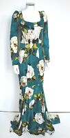 £4120 Dolce & Gabbana Teal Green Floral Print Corset Maxi Dress Gown It 40 uk 8