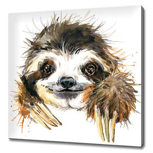 CUTE SLOTH WATERCOLOUR PAINTING STYLE CANVAS PRINT WALL ART PICTURE