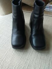 Black Leather Wedge Ankle Boots Size 39/6
