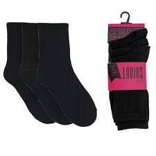 Ladies Cotton Trainer Liner Ankle Sports Black Plain Socks.