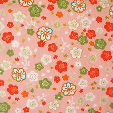 Kokka Ume Flower Pink Japanese Cotton Fabric Remnant 48x55cm PC557