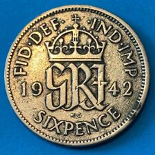 1942 Great Britain GB UK England Sixpence 0.5000 Silver Coin