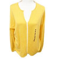 Isela Yellow White Cardigan Light Sweater Size Small Long Sleeve