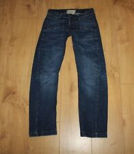 Blue Denim RIVER ISLAND Button Twisted Low Rice Stretch Faded Jeans 6 / 32  L 29