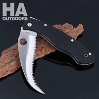 New C12GS Knife Fully Serrated G-10 Folding Linerlock camping survival Knife