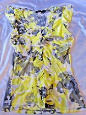 Limited Sheer Ruffle Blouse Yellow Gray Butterfly Sleeve Size Large (I87)