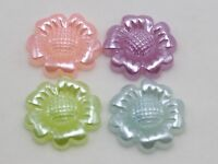 50 Mixed Color Acrylic Pearl Flatback Sunflower Cabochon 18mm Scrapbook Craft