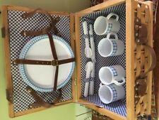 Wicker Picnic Basket W/ Blue Checkered Cloth