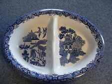 Churchill China Blue Willow Divided Vegtable Dish  Ex Cond