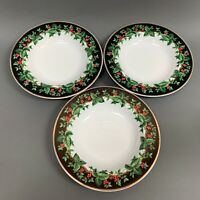 Holiday Bouquet Waverly Soup Cereal Bowls Holly Berries 9 Gold Trim Lot of 3