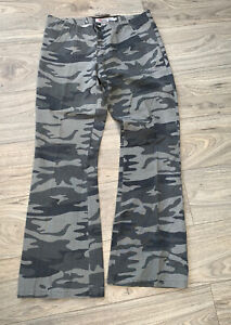 O'Neill Cargo Trousers Pants Size 14 Green Flares Camouflage Zipper Pockets