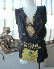 BURNING TORCH Recycled Rock-N-Roll 'BOB MARLEY' Silk/Cotton TOP Blouse BLACK ~ M