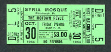 1964 Motown Unused Full concert ticket Pittsburgh Pa Temptations Marvin Gaye