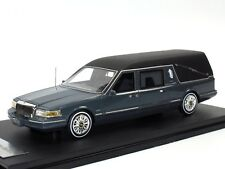 GLM 1997 Lincoln Towncar Hearse Funeral Car Bestattungswagen grey metallic 1/43