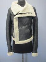 RICK OWENS Black Long Cuffed Sleeves Shearling Leather Short Jacket Sz 6 EE4580