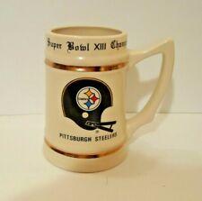 Vintage 1978 Super Bowl Xiii Pittsburgh Steelers Ceramic Mug Lewis Brothers