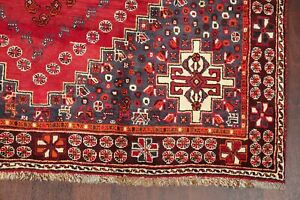 Tribal Geometric Qashqai Area Rug Wool Hand-Knotted Living Room Red Carpet 5'x8'