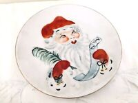 Vintage Hand Painted Santa Claus Plate Moriage Textured Paint Santa's List