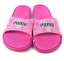 Puma Women's Slides Shoes Sandals Slip-On Pink White Black Logo NEW Sz 8