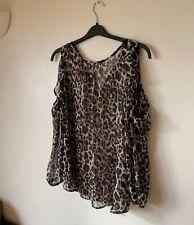 Next 14 Chiffon Leopard Print Cold Shoulder Blouse