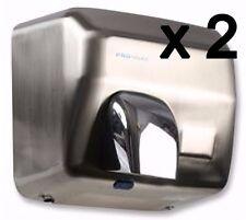 Asciugatrice a mano elettriche Acciaio Spazzolato Hot Air Auto Parete Bagno WC x 2