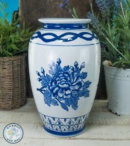 """BLUE WHITE CHINA PORCELAIN FLORAL FLOWER VASE 10"""" TALL"""