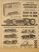 1965 Rannalli Slot Cars Racing Model Kits Porsche~Corvair~Cheetah Kids Toy AD