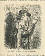 ANTIQUE 14TH C ENGLISH COSTUME WOMAN DRESS W CREST HERALDRY MINIATURE 1876 PRINT