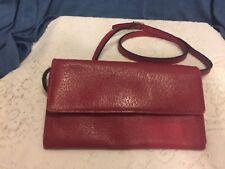 TALBOTS Red Genuine Leather Wallet Organizer Clutch w/strap--EUC