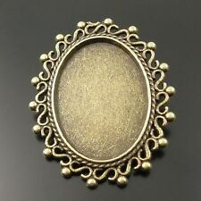 Oval Setting 25*18mm Pin Brooch 3Pcs *33105 Antiqued Style Bronze Tone Alloy