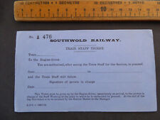 More details for southwold railway train staff unused