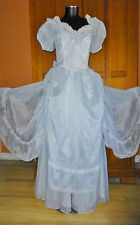 New Vtg 70s GUNNE SAX Organza Lace Prairie Boho Princess Wedding Maxi DRESS GOWN