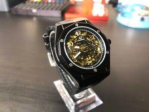 Forsinning Automatic Mechanical Skeleton Watch mens / Black Gold / Luxury Watch
