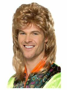 Smiffys Mullet Wig with Blonde Highlights Mens 80's Fancy Dress Accessory New