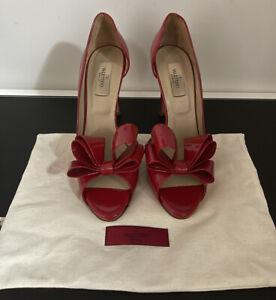 Valentino Couture Bow Patent Leather Peeptoe Heels EU38.5 US8 UK5.5