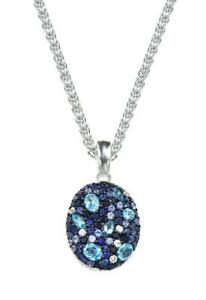 Effy Collection Oval Sapphire And Blue Topaz  925 Silver Pendant 4.39 TCW  Gift