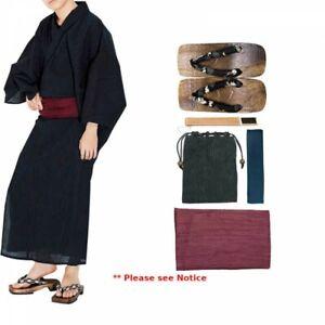 Japanese Men's Kimono Yukata Cotton Linen 6 Items Set G-3 NV x RD Japan Tracking
