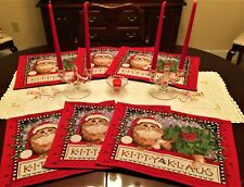Set of 6 NEW 'Kitty Klaus' Tapestry Christmas Placemats