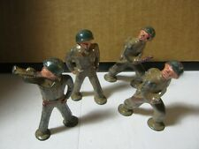 Lot of 4 Toy Lead Soldiers in Combat & One Playing Bugle  T*