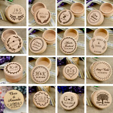 Personalised Wooden Double Ring Box Wedding Engagement Rustic Boxes Holder