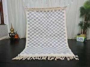 "Handmade Moroccan Beni Ourain Rug 4'2""x5'8"" Checkered Black Gray Berber Carpet"