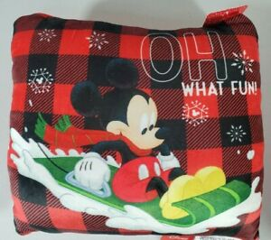 DISNEY Mickey Mouse Red Plaid Holiday Throw Pillow Super Soft Plush NEW w TAGS