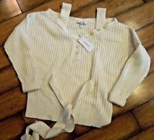 DEREK LAM 10 CROSBY Cold shoulder button Cashmere Wool sweater Ivory Medium M