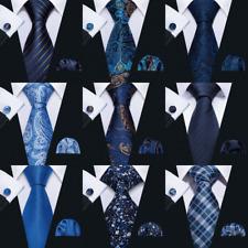 Men's Navy Blue Tie Solid Paisley Silk Handkerchief Cufflinks Set Formal USA
