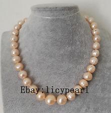 Große 12-13mm rosa Süßwasser Perle Halskette