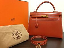 Auth HERMES Circle W Kelly 32 Hand Bag Shoulder Bag  Box Calf
