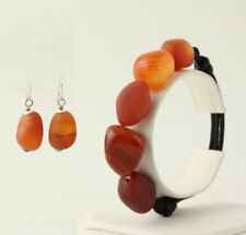 New Beaded Jewelry Set Orange Agate Bracelet & Pierced Dangle Earrings Silver