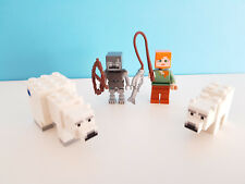 +++ LEGO MINECRAFT Figurines du set 21142 : 2 ours polaires + alex + stray   +++