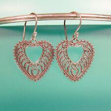925 Sterling Silver Heart Shaped Filigree Dangle Handmade Earrings